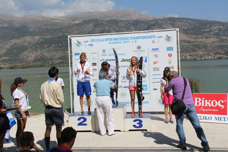 Geena (far right) on the podium at the Europe and Africa Championships in Greece.