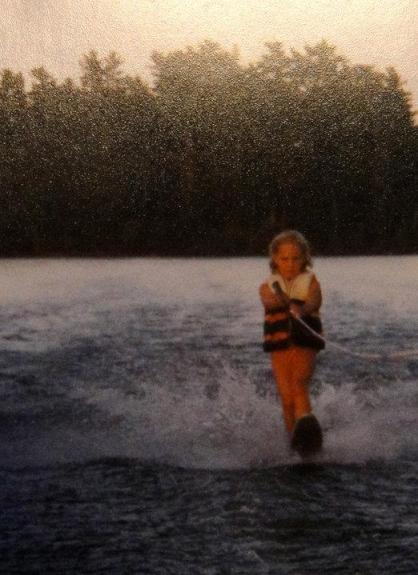 Geena slalom skiing on Star Lake at age six.