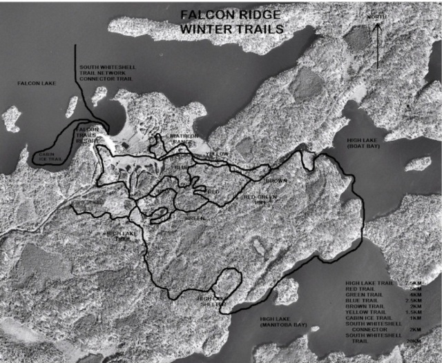 Map of ski trails at Falcon Ridge Ski Area.