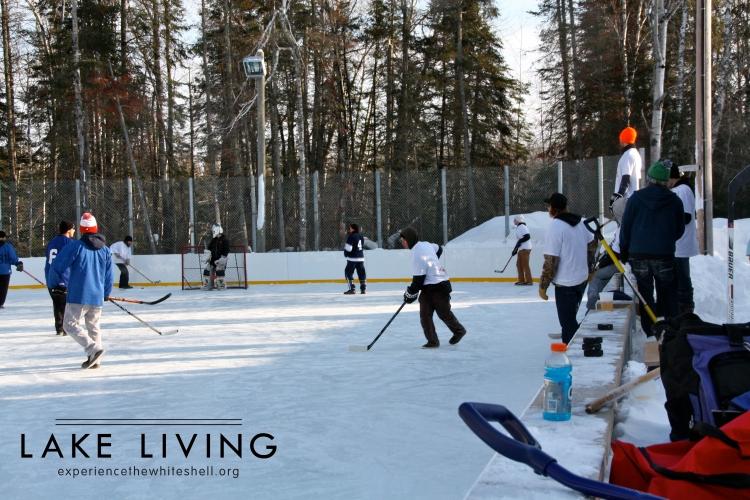 The sponge hockey tournament at the Whiteshell Community Club.