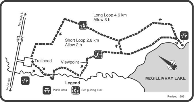 Trail map of McGillivray Falls.