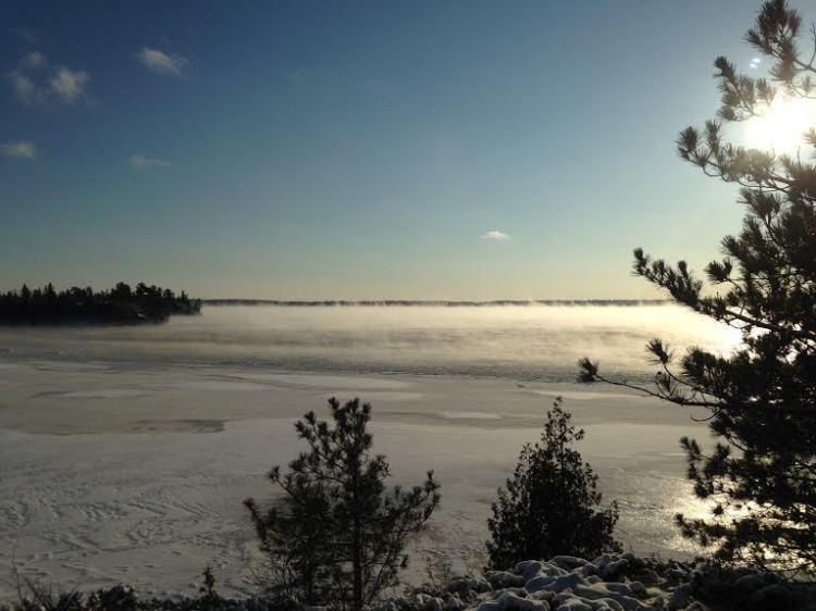 West Hawk Lake refusing to freeze. Photo by Karlyn McFadyen.